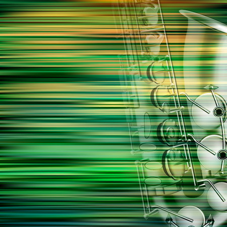 classic classical: abstract green blur background with saxophone Illustration