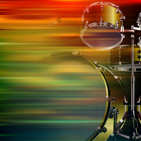 drum kit: abstract brown motion blur background with drum kit