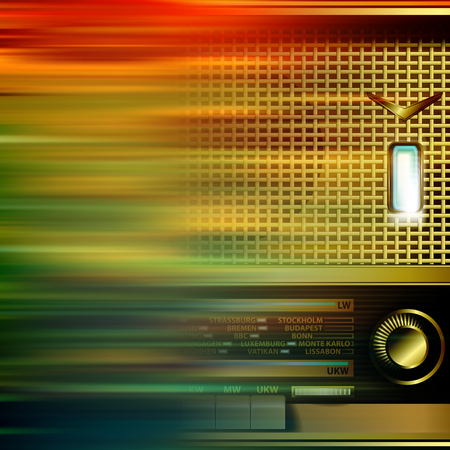 retro radio: abstract brown motion blur background with retro radio