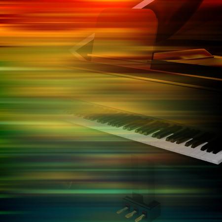abstrait brun de flou de mouvement avec piano à queue