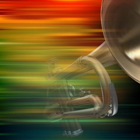 soprano saxophone: resumen de antecedentes de desenfoque de movimiento de color marrón con la trompeta