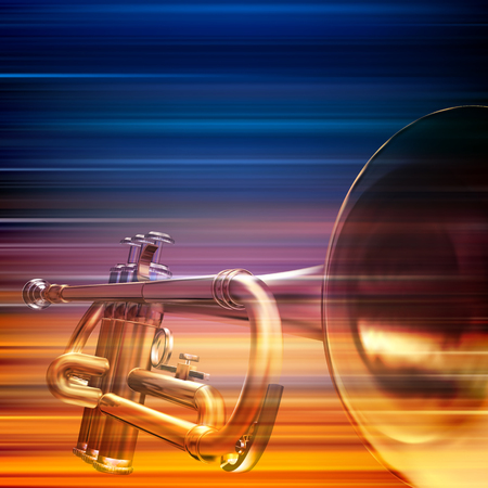 troubadour: abstract blur music background with trumpet