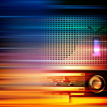 retro radio: abstract blur music background with retro radio Illustration