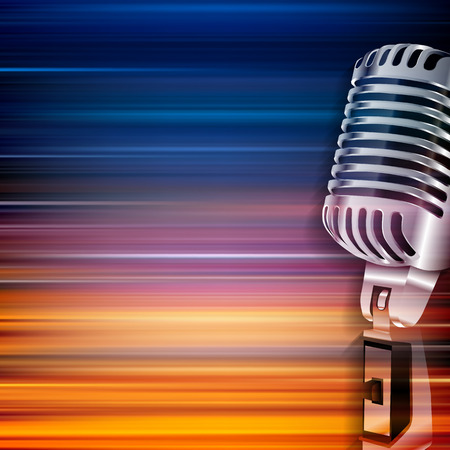 retro microphone: abstract blur music background with retro microphone Illustration