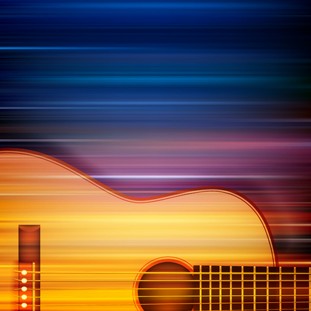 classic classical: abstract blur music background with acoustic guitar Illustration