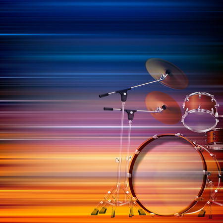 drum kit: abstract blur music background with drum kit