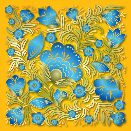 streszczenie lato kwiatowy ornament na żółtym tle Ilustracje wektorowe