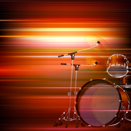 drum kit: abstract red blur music background with drum kit