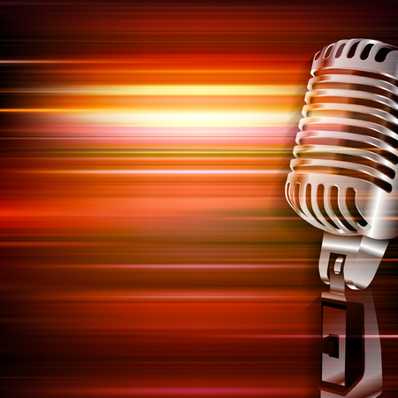 red blur: abstract red blur music background with retro microphone Illustration
