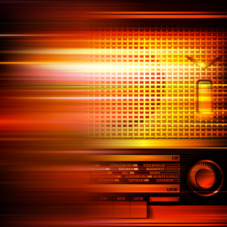 retro radio: abstract red blur music background with retro radio