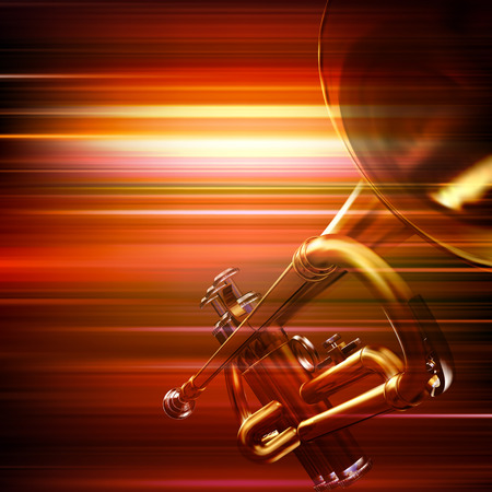 background music: abstract red blur music background with trumpet Illustration