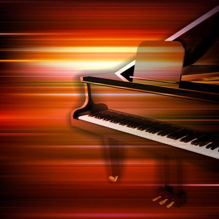 abstrait musique flou rouge avec grand piano