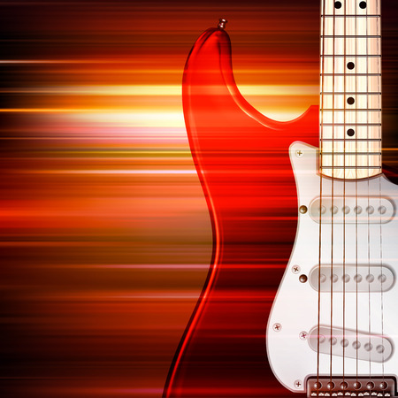 abstract red blur music background with electric guitar