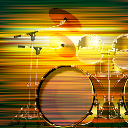 drum kit: abstract green blur music background with drum kit Illustration