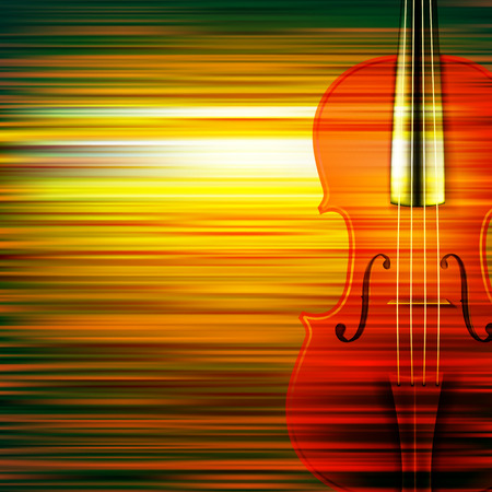 violoncello: abstract green blur music background with violin Illustration