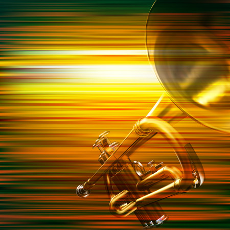 blare: abstract green blur music background with trumpet