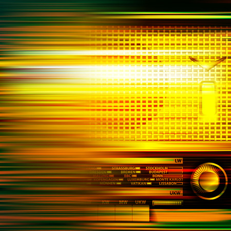 retro radio: abstract green blur music background with retro radio