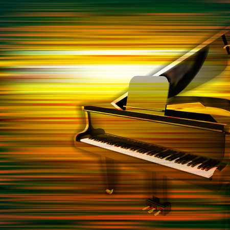 grand piano: abstract green blur music background with grand piano
