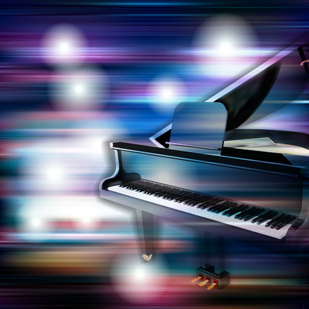 grand piano: abstract blue white music background with grand piano
