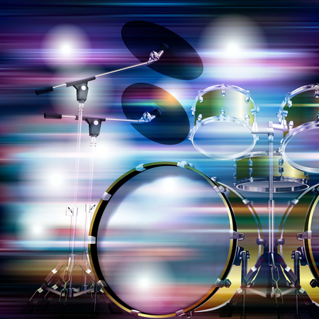 drum kit: abstract blue white music background with drum kit Illustration