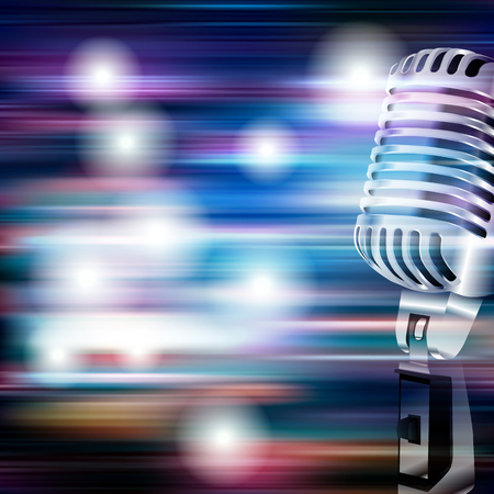 classic classical: abstract blue white music background with retro microphone