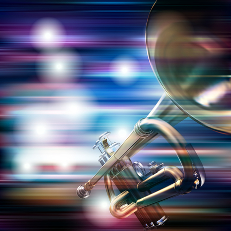 abstract blue white music background with trumpet
