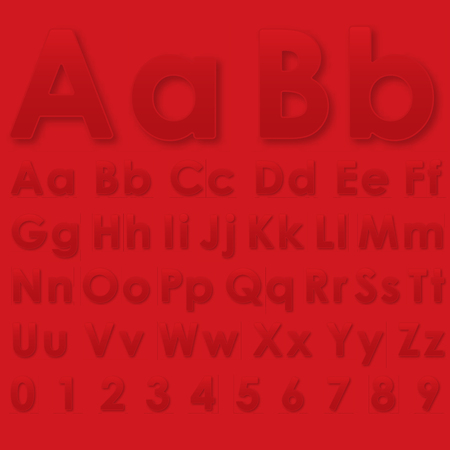 echo: Alphabet pseudo 3d letters on a red Illustration