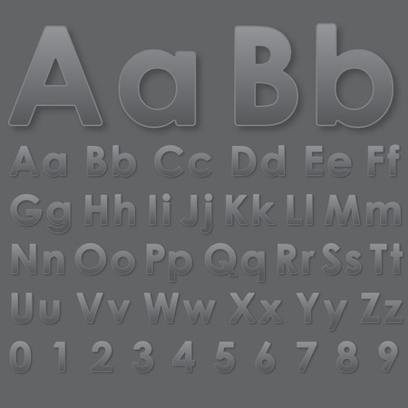 echo: Alphabet pseudo 3d letters on dark gray Illustration