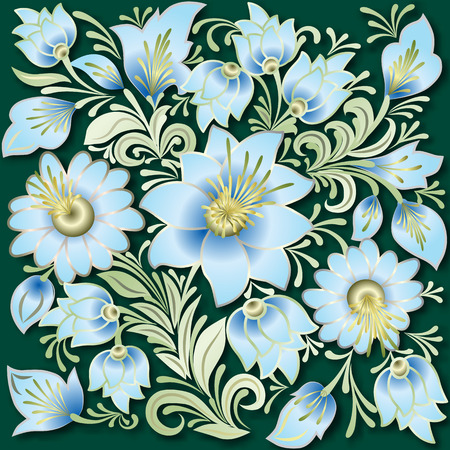 antique wallpaper: abstract blue floral ornament on green background Illustration