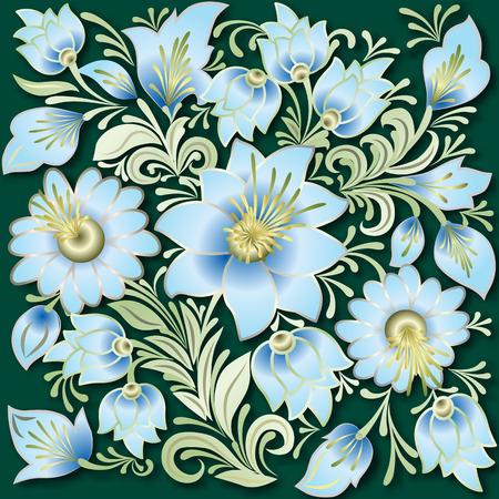 Resumen adornos florales azules sobre fondo verde