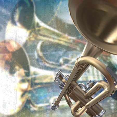 soprano saxophone: abstract blue grunge music background with trumpet