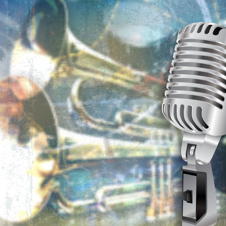 grunge music background: abstract blue grunge music background with retro microphone