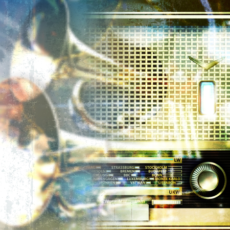 retro radio: abstract blue grunge music background with retro radio