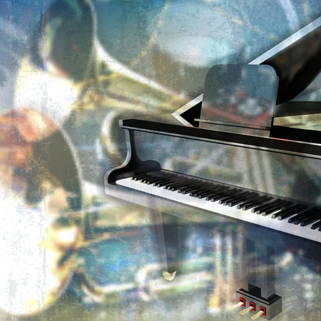 grunge music background: abstract blue grunge music background with grand piano Illustration