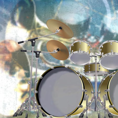 drum kit: abstract blue grunge music background with drum kit