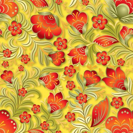 astratto rosso senza soluzione di continuità ornamento floreale su sfondo giallo