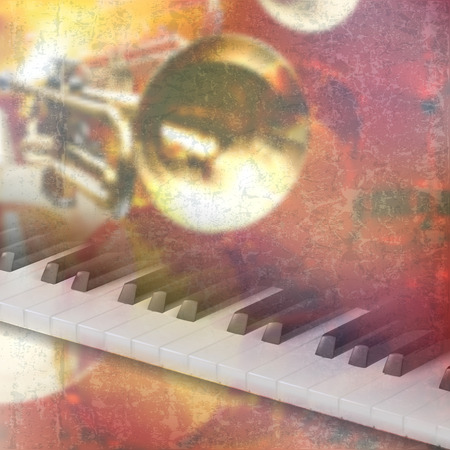 classic classical: abstract red grunge music background with piano keys