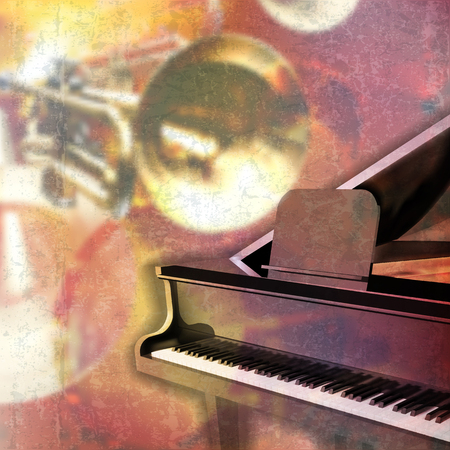 grand piano: abstract red grunge music background with grand piano