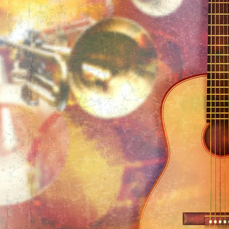 grunge music background: abstract red grunge music background with acoustic guitar