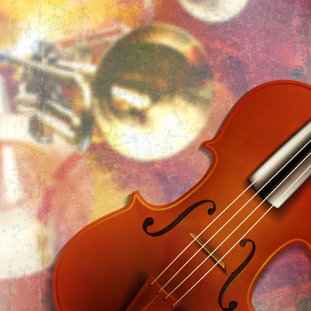 abstract red grunge music background with violin