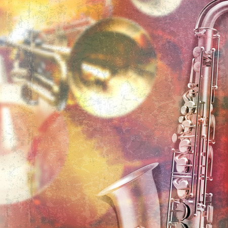 grunge music background: abstract red grunge music background with saxophone