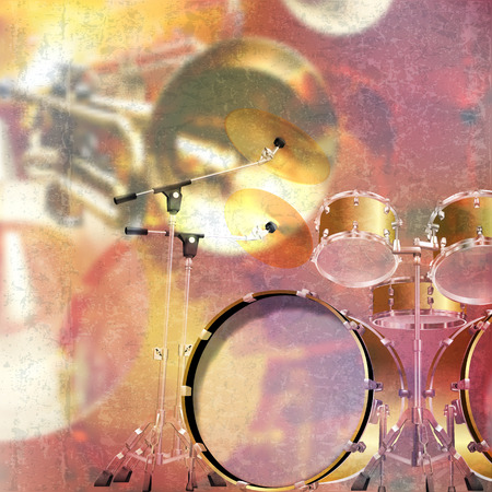 grunge music background: abstract red grunge music background with drum kit