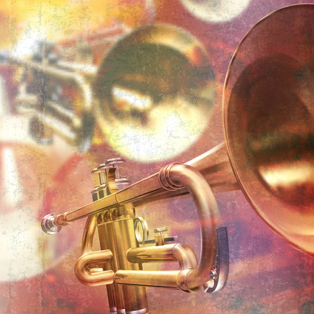 abstract red grunge music background with trumpet Illustration
