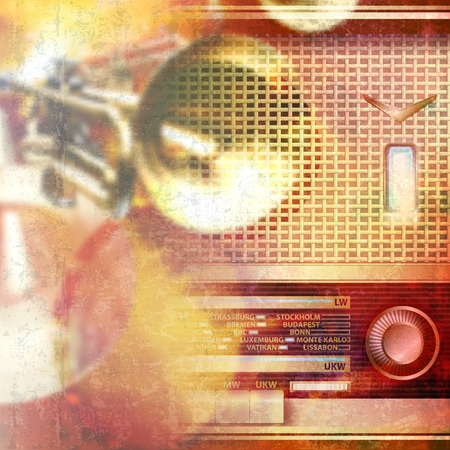 retro radio: abstract red grunge music background with retro radio Illustration