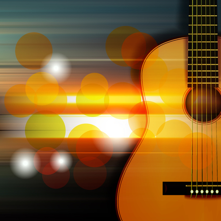 classic classical: abstract music blur background with acoustic guitar Illustration