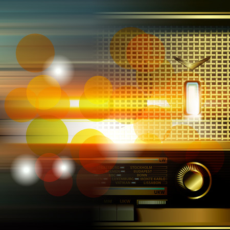 retro radio: abstract music blur background with retro radio