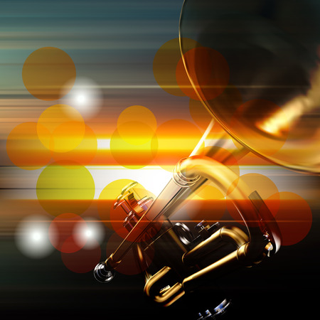 troubadour: abstract music blur background with trumpet Illustration