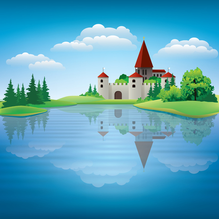 Cartoon drawing castle and a pond vector Illustration Vetores