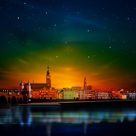 abstract red green sunset background with panorama of Heidelberg Illustration