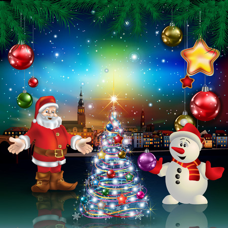Christmas greeting with panorama of city Santa Claus and snowman